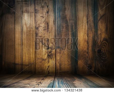 Wood.Wood room.Wood interior.Wood studio template. Old wooden background for montage or product presentation. 3D illustration