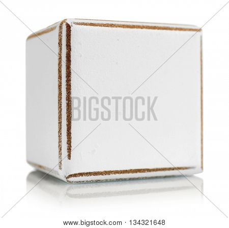 Wooden cube, isolated on white