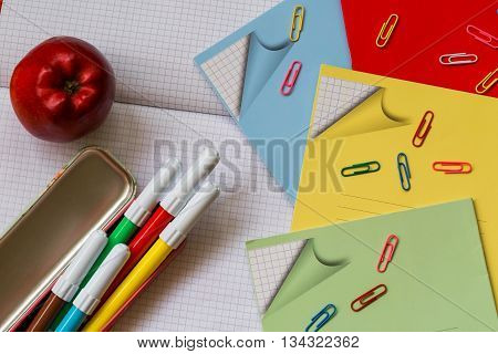 Office supplies for the student on white background - Back to school concept