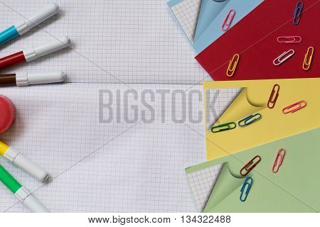 School accessories on white background. With your place for the text.
