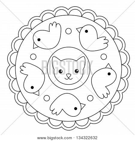Vector coloring simple cat and bird round mandala for children