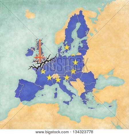 Illustration for Brexit and UK's EU referendum. United Kingdom and European Union with crack on the map of Europe.