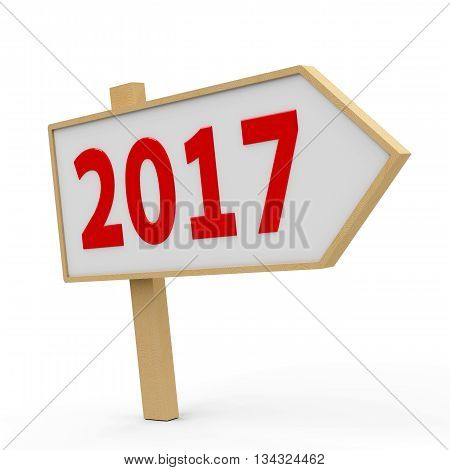 2017 white banner on white background represents the new year 2017 three-dimensional rendering 3D illustration