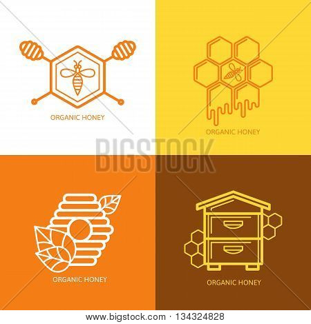 Set Of Honey Label, Logo, Tag, Sticker Design Elements. Vector Bee, Hive, Honeycombs And Honey Dippe