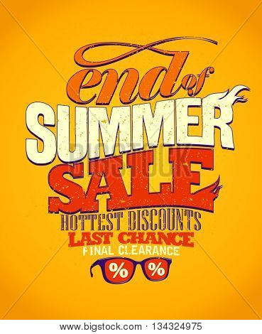 End of summer sale, last chance, vector advertising design