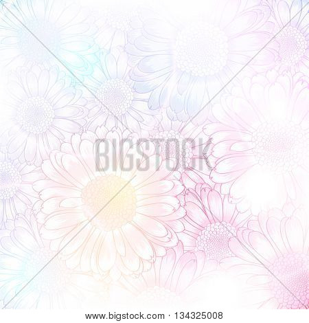 Hand-drawing floral background with flower gerbera. Element for design. Vector illustration.