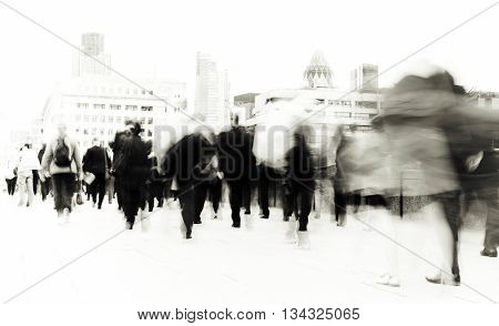 People Rushing to Work Commuter Concept
