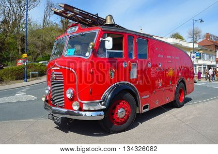 Felixstowe, Suffolk, England - May 01, 2016: Vintage Commer Fire Engine - Truck parked in road.