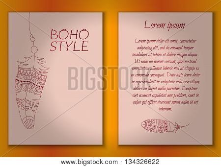 Invitation card set in boho style with tribal feathers, beads and dreamcatcher. Vector set.