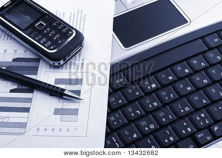 Notebook, phone, business technology