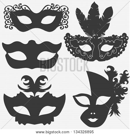 carnival mask set, theatrical or masquerade masks silhouette. vector