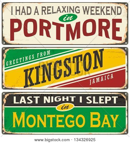 Retro tin sign collection with cities in Jamaica. Vintage vector souvenir or postcard templates. Travel theme.