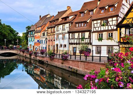 Beautiful Canals Of Colmar, France With Late Day Reflections