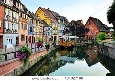 Evening View Of The Beautiful Canals Of Colmar, Alsace, France