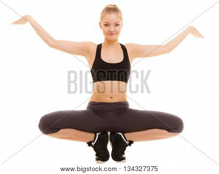 Sporty Girl Showing Blank Copy Space On Hands