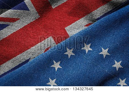 3D rendering of the flags of European Union and UK on woven fabric texture. Brexit concept. Detailed textile pattern and grunge theme.