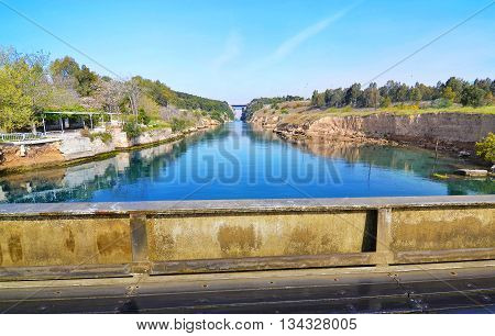 landscape of Isthmus of Corinth - corinth canal Greece