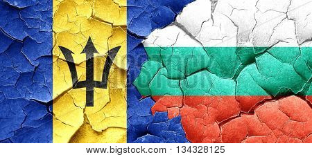 Barbados flag with Bulgaria flag on a grunge cracked wall