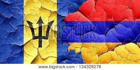 Barbados flag with Armenia flag on a grunge cracked wall