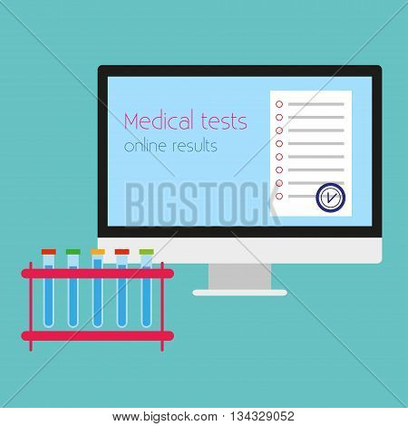 Online medical test. Vector illustration Tubes tests and medical test results online. Online medical test on computer. Flat design
