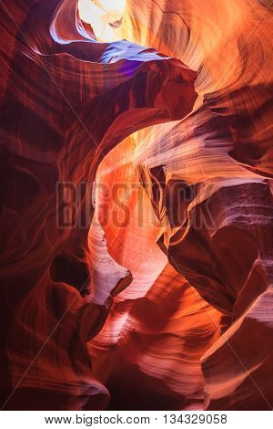 Colorful Sandstone Walls Of Upper And Lower Antelope Canyon Near Page,  Arizona