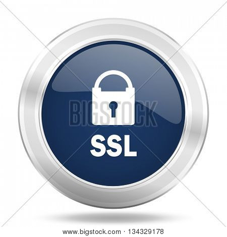 ssl icon, dark blue round metallic internet button, web and mobile app illustration