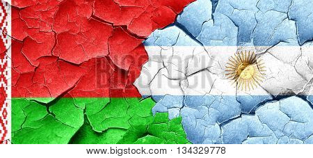 Belarus flag with Argentine flag on a grunge cracked wall