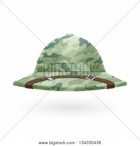 Cork camouflage hat isolated on a white background