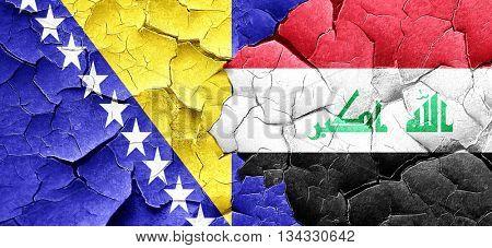 Bosnia and Herzegovina flag with Iraq flag on a grunge cracked w