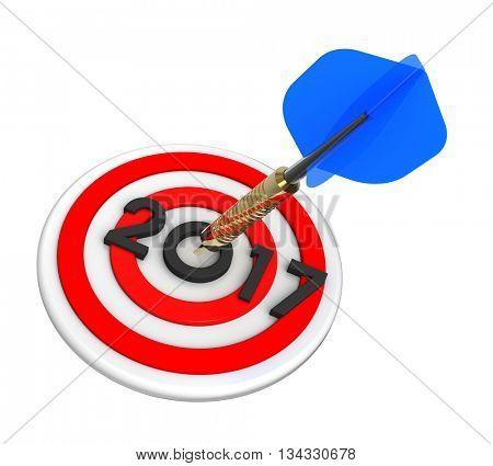 Dart hitting target - New Year 2017. 3D illustration.