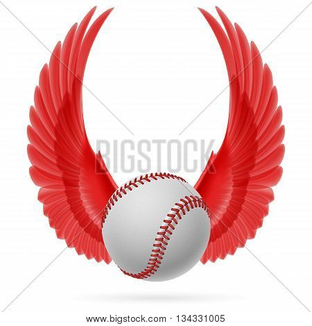Realistic baseball emblem with raised up red wings