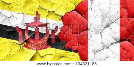 Brunei flag with Peru flag on a grunge cracked wall