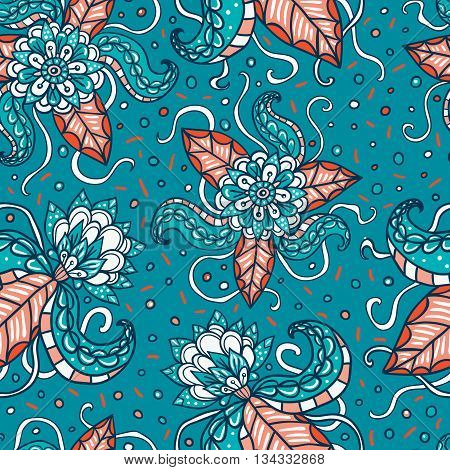 Fictional flowers with tentacles blue seamless pattern.