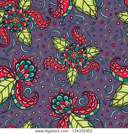 Fictional flowers with tentacles purple seamless pattern.