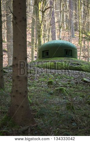 French Bunker Turret Near Langensoultzbach, Vosges, France. It Was Built Before Wwii As Part Of The