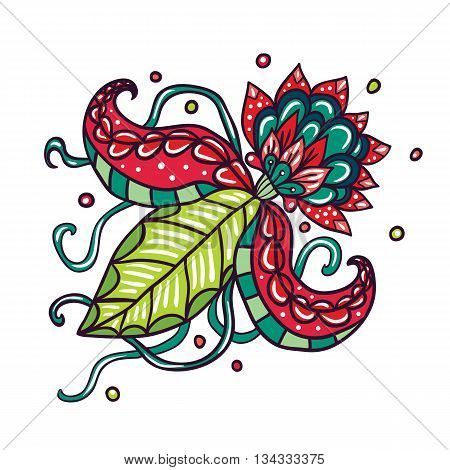 Fictional flowers with tentacles illustration on white background.