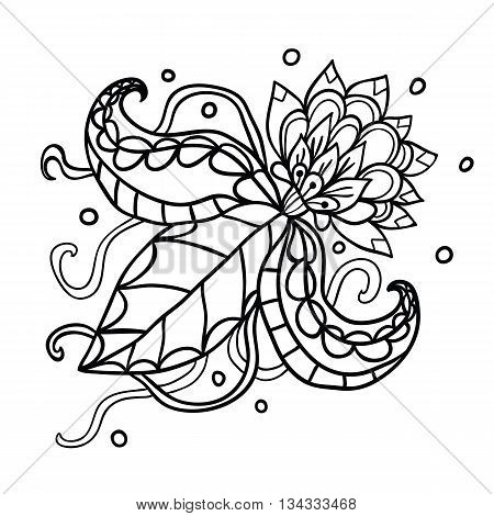Fictional flowers with tentacles outline illustration on white background.