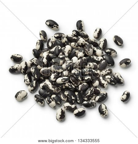 Heap of dried Vaquero beans on white background