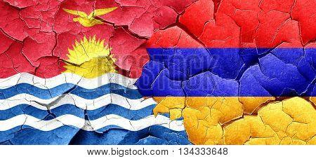 Kiribati flag with Armenia flag on a grunge cracked wall