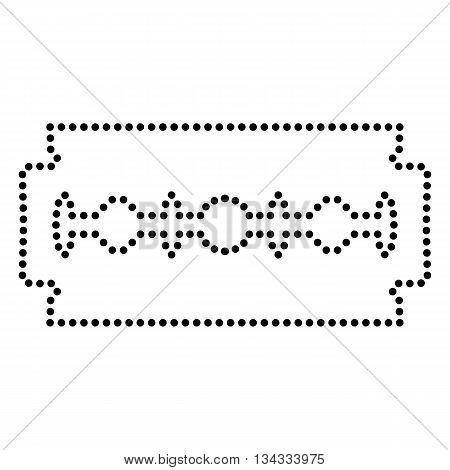 Razor blade sign. Dot style or bullet style icon on white.