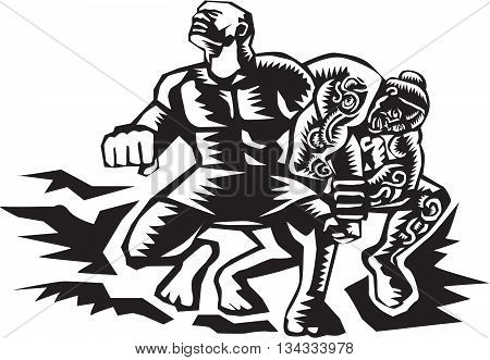 Illustration of Samoan legend Tiitii wrestling the God of Earthquake and breaking his arm done in retro woodcut style.