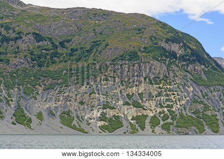 Eroded Mountain along a Glacial Fjord in Prince William Sound by the Columbia Glacier in Alaska