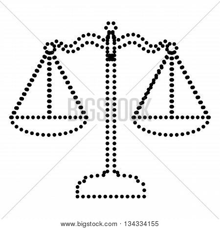 Scales balance sign. Dot style or bullet style icon on white.