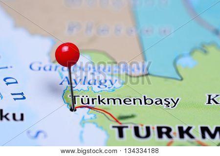 Turkmenbasy pinned on a map of Turkmenistan