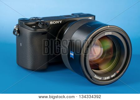 BERLIN, GERMANY - June 06, 2016: Sony Alpha a6300 Mirrorless Fast-focusing and 4K-shooting Digital Camera with Zeiss 85mm Lens