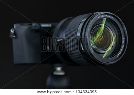 BERLIN, GERMANY - June 06, 2016: Sony Alpha a6300 Mirrorless Fast-focusing and 4K-shooting Digital Camera with Sony 24-240mm Travel Lens