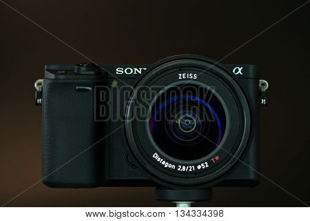 BERLIN, GERMANY - June 06, 2016: Sony Alpha a6300 Mirrorless Fast-focusing and 4K-shooting Digital Camera with Zeiss 21mm Lens