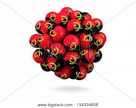 Pile Of Footballs With Flag Of Angola