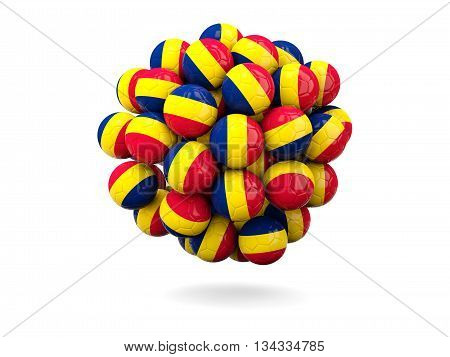 Pile Of Footballs With Flag Of Chad