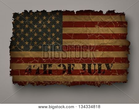 Old USA flag on independence day inscription